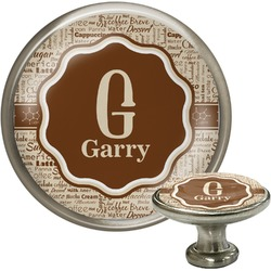 Coffee Lover Cabinet Knob (Silver) (Personalized)