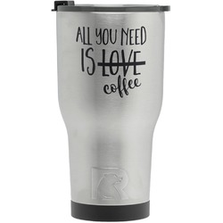 Coffee Lover RTIC Tumbler - Silver - Engraved Front (Personalized)