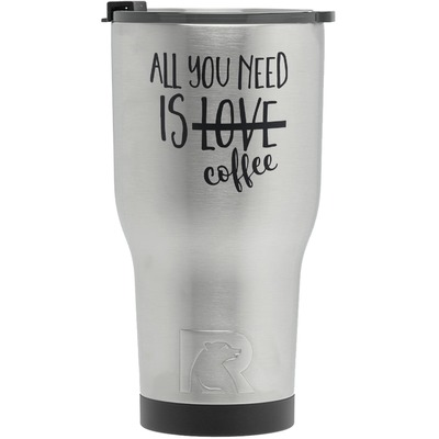 Coffee Lover RTIC Tumbler - Silver (Personalized)