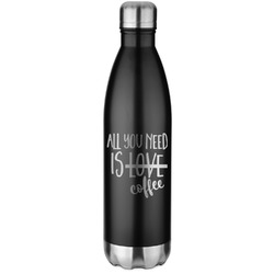 Coffee Lover Black Water Bottle - 26 oz. Stainless Steel  (Personalized)