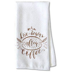 Coffee Lover Waffle Weave Kitchen Towel - Partial Print (Personalized)