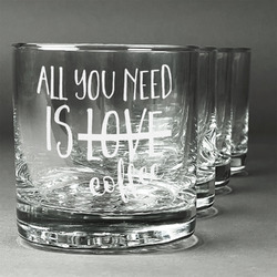 Coffee Lover Whiskey Glasses (Set of 4) (Personalized)