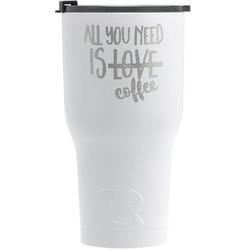 Coffee Lover RTIC Tumbler - White - Engraved Front (Personalized)