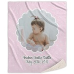 Baby Girl Photo Sherpa Throw Blanket (Personalized)