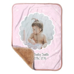 "Baby Girl Photo Sherpa Baby Blanket 30"" x 40"" (Personalized)"