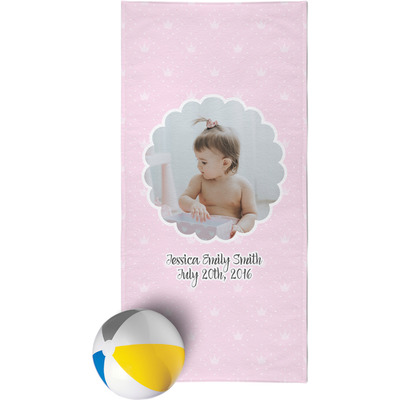 Baby Girl Photo Beach Towel (Personalized)