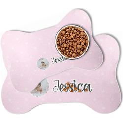 Baby Girl Photo Bone Shaped Dog Food Mat (Personalized)
