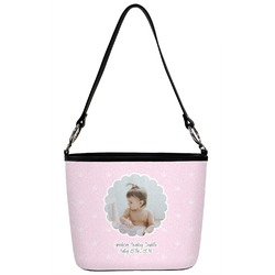Baby Girl Photo Bucket Bag w/ Genuine Leather Trim (Personalized)