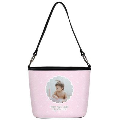 Baby Girl Photo Bucket Bag w/ Genuine Leather Trim (Personalized)