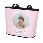 Baby Girl Photo Bucket Tote w/ Genuine Leather Trim (Personalized)