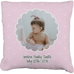 """Baby Girl Photo Faux-Linen Throw Pillow 26"""" (Personalized)"""