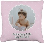 Baby Girl Photo Faux-Linen Throw Pillow (Personalized)