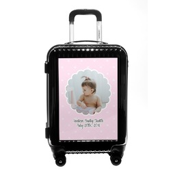 Baby Girl Photo Carry On Hard Shell Suitcase (Personalized)
