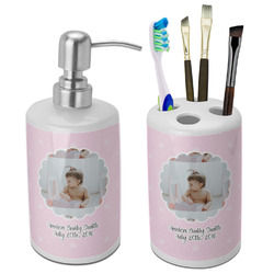 Baby Girl Photo Bathroom Accessories Set (Ceramic) (Personalized)