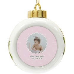 Baby Girl Photo Ceramic Ball Ornament (Personalized)