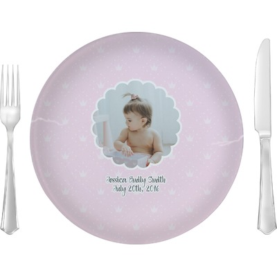 """Baby Girl Photo 10"""" Glass Lunch / Dinner Plates - Single or Set (Personalized)"""