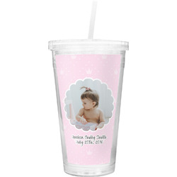 Baby Girl Photo Double Wall Tumbler with Straw (Personalized)