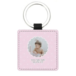 Baby Girl Photo Genuine Leather Rectangular Keychain (Personalized)