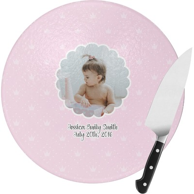 Baby Girl Photo Round Glass Cutting Board (Personalized)