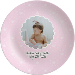 "Baby Girl Photo Melamine Plate - 8"" (Personalized)"