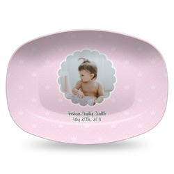 Baby Girl Photo Plastic Platter - Microwave & Oven Safe Composite Polymer (Personalized)
