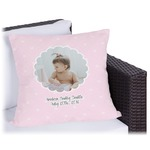 Baby Girl Photo Outdoor Pillow (Personalized)