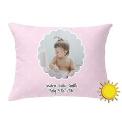 Baby Girl Photo Outdoor Throw Pillow (Rectangular) (Personalized)