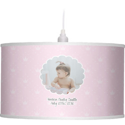 Baby Girl Photo Drum Pendant Lamp Linen (Personalized)