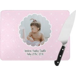 Baby Girl Photo Rectangular Glass Cutting Board (Personalized)