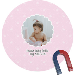 Baby Girl Photo Round Magnet (Personalized)