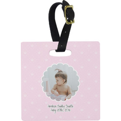 Baby Girl Photo Square Luggage Tag (Personalized)