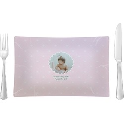 Baby Girl Photo Glass Rectangular Lunch / Dinner Plate - Single or Set (Personalized)