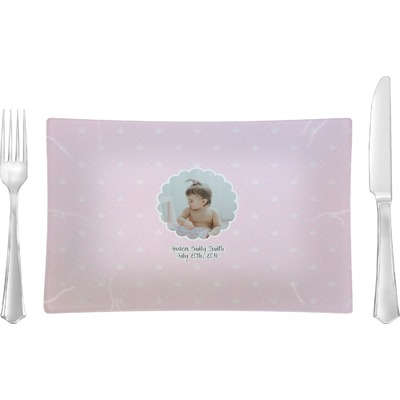 Baby Girl Photo Rectangular Glass Lunch / Dinner Plate - Single or Set (Personalized)