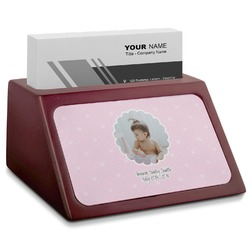 Baby Girl Photo Red Mahogany Business Card Holder (Personalized)