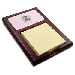 Baby Girl Photo Red Mahogany Sticky Note Holder (Personalized)
