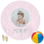 Baby Girl Photo Round Beach Towel (Personalized)