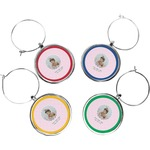 Baby Girl Photo Wine Charms (Set of 4) (Personalized)
