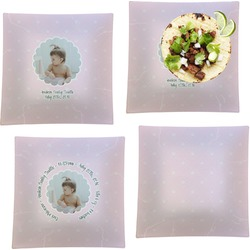 """Baby Girl Photo Set of 4 Glass Square Lunch / Dinner Plate 9.5"""" (Personalized)"""