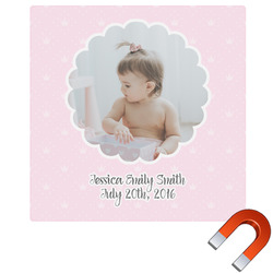 Baby Girl Photo Square Car Magnet (Personalized)