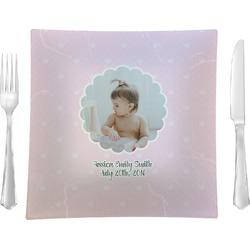 "Baby Girl Photo Glass Square Lunch / Dinner Plate 9.5"" - Single or Set of 4 (Personalized)"