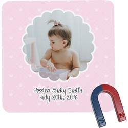Baby Girl Photo Square Fridge Magnet (Personalized)