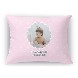 Baby Girl Photo Rectangular Throw Pillow Case (Personalized)