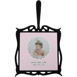 Baby Girl Photo Trivet with Handle (Personalized)