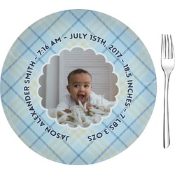 "Baby Boy Photo Glass Appetizer / Dessert Plates 8"" - Single or Set (Personalized)"