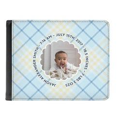 Baby Boy Photo Genuine Leather Men's Bi-fold Wallet (Personalized)