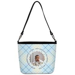 Baby Boy Photo Bucket Bag w/ Genuine Leather Trim (Personalized)