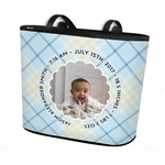 Baby Boy Photo Bucket Tote w/ Genuine Leather Trim (Personalized)