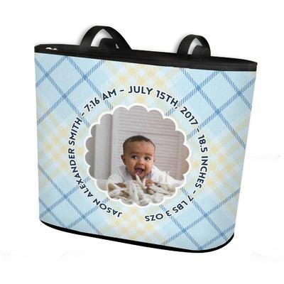 Baby Boy Photo Bucket Tote w/ Genuine Leather Trim (Personalized)