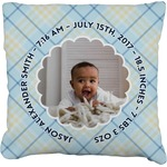 Baby Boy Photo Faux-Linen Throw Pillow (Personalized)