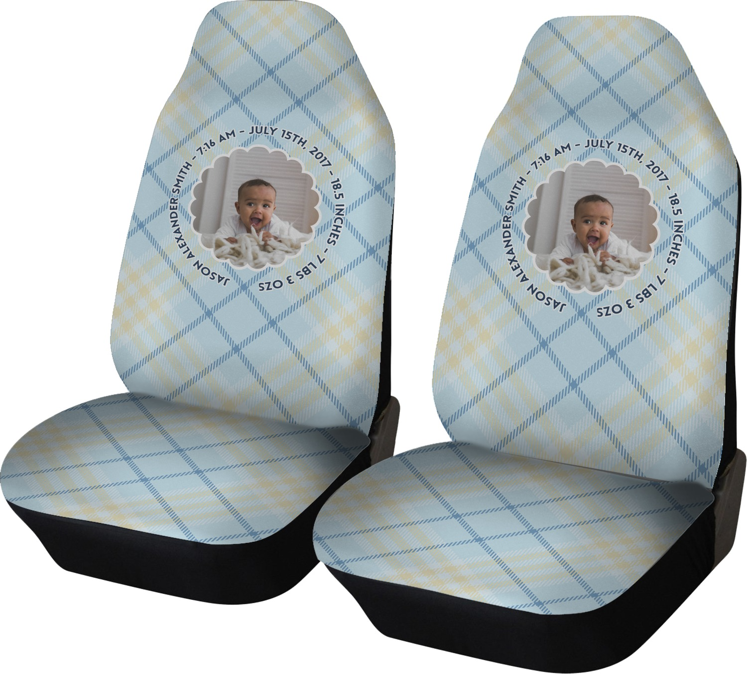 Baby Boy Photo Car Seat Covers (Set Of Two) (Personalized